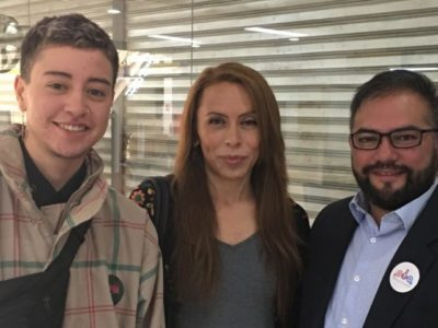 Noah López Trans Masculine Next To Valeria Pinto, Trans Feminine; Both Requestes An Appointment At The Civil Registry Next To Franco Fuica From OTD Chile